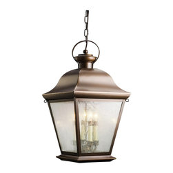"KICHLER - KICHLER 9804OZ Mount Vernon Traditional Outdoor Hanging Light - With its simple yet bold shape, the Mount Vernon Collection adds a touch of rustic flavor to the American home. Our Olde Bronze finish over solid brass gives an aged look to the piece, while the seedy glass panels provide additional texture and complete the Mount Vernon's antique profile making it the perfect balance of form and function. This four light Mount Vernon Hanging Lantern is the ideal way to brighten up your front porch or veranda. The 26"" high fixture uses 60-watt (max.) bulbs and is U.L. listed for damp locations. For additional chain order KCH-4927-OZ."