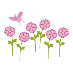 My Wonderful Walls - 6 Heart Flowers and 1 Butterfly Wall Stickers - Decals - Set of 6 daisies and 1 butterfly decals