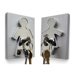 "His and Hers Key Holders - These chrome plated key holders add a fun element to the home whilst providing a convenient place to store your keys - ensuring you'll never have to spend hours frantically looking for them again! The contemporary design of the ""his & hers"" key holder incorporates either a male or female form, which is raised up against its background forming an interesting design aspect and clearly identifying who's keys are whose! The key holder is supplied with its own unique key, which is then attached to your own set of keys."