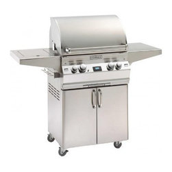 """Fire Magic - Fire Magic Aurora A430s-1E1P-62 Stand Alone Propane Gas Grill - -Cast stainless steel """"E"""" burners -  guaranteed for life  -Largest cooking spacecompared to other same size grills  -Most BTUs per square inch.Heats fast and stays hot!  -16-gauge stainless steel flavor gridsare engineered for durability and even heatdistribution  -Built-in Interior Lights  -Integral and removable ovenwarming rack for light cooking or warming food  -Electronic Spark ignition - simply push in the control knob, turn up the gas and light the grill (no batteries required)  -Meat probewith digital thermometer  -Optional recessed stainless steel rotisserieback burnerand heavy duty rotisserie kit  -Built-in storage rackfor rotisserie spit rod  -Extensive lineof complementary accessories  -Stainless steel warming rack for additional indirect cooking space  -432 sq. inches cooking surface(24""""x18"""")   -Height of Cart: 37"""". Cart Width: 26"""". Width with Shelves Up: 55.75"""". Height with Grill Open: 57"""". Max Depth: 25.75"""". Cart Base Depth: 21.75"""". Height with Grill Closed: 50"""". Width with Shelves 1-Up/1-Down: 46"""". Width with Both Shelves Down: 35.25"""".     15 year warranty on backburnersCast stainless steel burners, stainless steel housing and stainless steelcooking grids are warranted for as long as you own your grill"""
