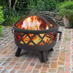"Landmann - Grdn Lts Sarasta FirePit Steel - Garden LightsThis Sarasota Fire Pit  provides a 360 degree view of the fire.  It features stylish diamond cutouts which create an incredible ambiance at night and a large 23.5"" fire bowl. Its sturdy steel construction is designed for easy assembly and its four decorative legs provide sturdy support.  Decorative ring handles make for easy transport. Comes with decorative spark screen and poker.  Measures 28.5""X25""X24.25"".  Weighs 22 lbs.  Burn Surface Area  415 sq. in.  This item cannot be shipped to APO/FPO addresses. Please accept our apologies."
