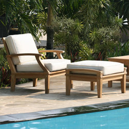 St. Barts Deep Seating Teak Arm Chair and Ottoman with Cushions - Beautifully hand-carved teak and plush cushions made from outdoor fabric provide comfort and relaxation in this deep seated arm chair and ottoman. Perfect for your poolside or patio, this set will become the center of attention in your outdoor space.