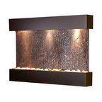 Adagio Water Features - Reflection Creek Wall Fountain, Blackened Copper, Rajah Slate - Offers The tranquility of water in motion