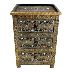 Badia Design Inc. - Moroccan 3-Drawer Metal and Bone Nightstand - This is an exquisite and beautifully designed Moroccan bronze colored 3-drawer metal nightstand with white and orange colored bone – designed by our skilled Moroccan artisans.