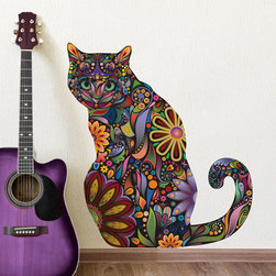 My  Wonderful Walls - Sitting Cat Wall Sticker - Peel & Stick Floral Cat Decal, Small, As Shown - -Colorful cat wall sticker / wall decal in flower pattern!