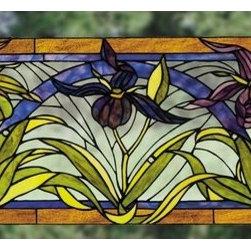 """Meyda Tiffany - Meyda Tiffany 22928 Stained Glass Tiffany Window Woodland Flowers Colle - *Art Glass Windows & Fireplace ScreensLady Slippers WindowIncludes mounting bracket & jack chainDimensions: 30""""W x 13""""H"""