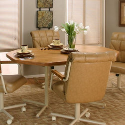 Cramco - Cramco Marlin Octagon Laminate Top Dining Table - Rustic Oak/Mocha Multicolor - - Shop for Dining Tables from Hayneedle.com! A rounded octagonal shape and welcoming rustic oak laminate top make the Cramco Marlin Octagon Laminate Top Dining Table - Rustic Oak/Mocha a friendly addition to your eat-in kitchen or casual dining space. This durable table features welded metal legs in an electrostatic powder-coated baked-on mocha finish. Its top is thermally fused and mar-resistant. Seats four people comfortably.About CramcoBased in Philadelphia Pennsylvania Cramco provides an expansive selection of dining and dinette sets from traditional to contemporary. Quality materials including wood glass marble and laminate are used to create designs you'll love.