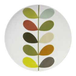 """Orla Kiely - Orla Kiely Multi Stem Ceramic Side Plate - Set of 4 - Porcelain salad/side plate set featuring Orla Kiely's signature Multi Stem print. Microwave and dishwasher safe. Made in Thailand. Sold as a set of 4 plates. Measures: 8.25""""d"""