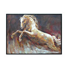 "Crestview - ""Lipizan"" Artwork - Leaping Lipizan! This stallion is about to jump off the gallery-wrapped canvas and into your living room. The brush strokes capture the energy and excitement of this horse sure to win and show in your place. It's framed in black for extra drama and polish."