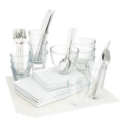 4-top cuatro white dinner set - less is minimal.- Medium-sized white porcelain platter is dishwasher-, microwave- and conventional oven-safe- Clear glass bowls are made in Italy; dishwasher- and microwave-safe- Made in China- See dimensions below
