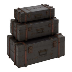 Benzara - Old World Rustic Set of 3 Wood Trunks Grey Metal Brown Home Decor - Old world style rustic design set of 3 stackable wood trunks with grey metal look and brown accents home decor