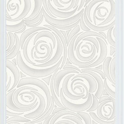 Graham and Brown - Bella Wallpaper - White/Cream, Swatch - Bella gives an impressionistic view of a rose, embellished with accents of silver and gold, and with an intricate emboss of a heavy fabric design.