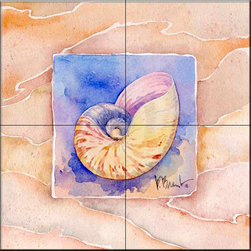 The Tile Mural Store (USA) - Tile Mural - Summer Nautilus  - Kitchen Backsplash Ideas - This beautiful artwork by Paul Brent has been digitally reproduced for tiles and depicts a nice shell in the summer series.    Tile murals with shells and decorative shell tiles are timeless and are excellent to add to your kitchen backsplash tile project or your tub and shower surround bathroom tile project. Images of sea shells on tiles add a unique element to your tiling project and are a great kitchen backsplash idea for a coastal home. Use a shell tile mural for a wall tile project in any room in your home where you want to add interest to a plain field of wall tile. Bathrooms always look best with the addition of decorative wall tiles so why not add decorative tiles with images of shells?