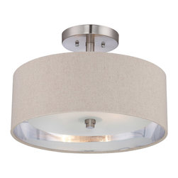 Quoizel - Quoizel CKMO1716BN Metro 2 Light Semi-Flush Mounts in Brushed Nickel - This 2 light Semi-Flush Mount from the Metro collection by Quoizel will enhance your home with a perfect mix of form and function. The features include a Brushed Nickel finish applied by experts. This item qualifies for free shipping!