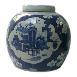 Golden Lotus - Chinese Blue White Porcelain Large Ginger Jar Hcs601-2 - This is a decorative piece and collected from different places, the color and details varies from one to one. The bottom mark is different. But overall the design is almost the same.