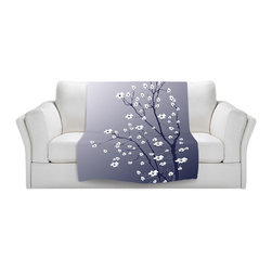 DiaNoche Designs - Throw Blanket Fleece - Monika Strigel Blooming Tree Blue Grey - Original Artwork printed to an ultra soft fleece Blanket for a unique look and feel of your living room couch or bedroom space.  DiaNoche Designs uses images from artists all over the world to create Illuminated art, Canvas Art, Sheets, Pillows, Duvets, Blankets and many other items that you can print to.  Every purchase supports an artist!