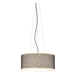Marset - Cala Susp IP65 - Outdoor Suspension Lamp | Marset - Marset Lighting Cala Susp IP65 outdoor suspension lamp features two shade colors: white or brown. A rotary molded polyethylene shade is enclosed in a zipped textilene sleeve. Black electrical cord. �_ Manufacturer: Marset LightingSize: Base: 4.3 in. diameter x Shade: 20.8 in. diameter x 9.4 in. height x 6.6 ft. extension x 15.1 ft. cord length Light Source: 2 x 18 watt E26 CFL Type T4 - not included Location:�_Wet Ceritfications: UL