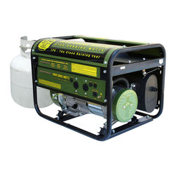 Buffalo Tools - Sportsman Series Propane 4000 Watt Generator - The Sportsman Propane 4000 Watt Portable Generator can power common household appliances and power tools. It is equipped with two -120 volt outlets and a 12 volt DC outlet for battery charging. A generator of this size is ideal for small camping or tailgating parties or to have on hand in case you need some temporary power in an emergency situation. It has a 7HP 4-Stroke OHV Recoil Start engine. Its affordable but well thought out with full featured options such as Automatic Low Oil Shutdown and Automatic Voltage Regulator. It boasts an engine run time of 10 hours at 50% on a common 20Lb (gas grill type) cylinder (LPG cylinder not included). A 5 foot propane fuel hose with a regulator is included for your added convenience. The engine is surprisingly quiet; it runs at less than 68 Db.  This is a great generator for anyone who needs affordable power. Propane has several distinct advantages over gasoline generators. Propane burns cleaner than gas engines. Carbon monoxide emissions run up to 40% lower. Propane will not degrade  so you can keep several propane tanks on hand for emergencies and store them for an unlimited amount of time. Since this generator runs on propane you never have to worry about the fuel going bad or having the carburetor getting fouled due to degenerated gasoline - a common problem with gasoline powered small engines. Unfortunately  this model cannot be converted to operate with natural gas.  4000 surge watts/3250 running watts Uses a standard gas grill style LPG tank  The 7 HP  4 stroke OHV  recoil start engine  delivers maximum performance  The generator runs on clean  quiet and efficient liquid propane gas (LPG)  so you never have to worry about bad gasoline fouling the engine  5 ft. Regulator hose is included in box  LPG propane tank is not included Air cooled  AVR automatic voltage regulation  recoil start  low oil shut off  spark arrestor  full power panel  engine shut off swit