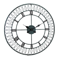 Zeckos - Large Decorative Metal Scrolled Round Wall Clock 27 in. - This substantially sized metal wall clock features a scrolling coiled design around the perimeter, and big bold roman numerals perfect to accent an entryway, above the buffet in a dining room, the wall of a family room or at the office This metal 27 1/2 inch diameter, 3/4 inch deep (70 X 2 cm) clock creates an amazing focal point with a lightly weathered gray finish, ornate hands, and a 20 1/2 inch diameter (52 cm) clock face while the quartz movement requires just 1 AA battery (not included). This decorative clock complements most any style decor from shabby chic to modern, and is great as a housewarming gift sure to be enjoyed time, and time again