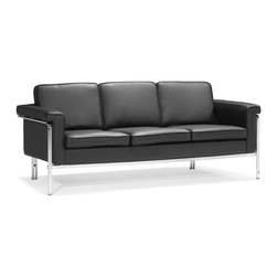 Zuo Modern - Singular Sofa Black - With clean lines and sleek chrome, the Singular series is a sexy piece for your home. The Singular has a 100% chrome frame wrapped in a plush leatherette that comes in three colors: black, white and terracotta.