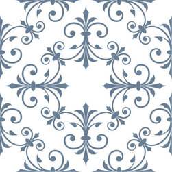 Odhams Press - Hobson Blue RETile Decal, Clear Background - RETile decals can be used to accent or transform your existing ceramic, stone or glass tiles. They are easy to apply and can be removed in the future without leaving a sticky residue.