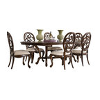 """American Drew - American Drew Jessica McClintock 7-Piece Oval Side Dining Room Set - Welcome to the Jessica McClintock Home, by American Drew. This collection combines the romantic elements of Jessica into a """"New Traditional"""" styling. This collection truly captures the past, present and future together. The combination of materials such as fine veneers, marble, leather and mirror, the dramatic serpentine and bowed shapes, he use of elements from fashion and nature, and the custom, jewelry-like hardware all add a unique flare to this collection that is like nothing before. This collection is crafted from highly figured Walnut Veneers, Prima Vera and Maple Marquetry in a Mink finish. A Silver Leaf finish is offered on select pieces, giving them a soft, veiled-platinum appearance. Unique pieces abound in Jessica McClintock Home. The Antiqued Mirror Leg Dining Table, the Silver Leafed Leather Bed with Crystal-like buttons, the Dressing Armoire and Silver Leaf Serpentine Chest all create beautiful focal points in every room of your home. Gracious scaled items, eclectic mixture of materials and designs and the romantic touch of Jessica come together to create a collection of furniture that will add a high end style to any home."""