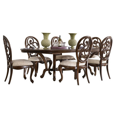 "American Drew - American Drew Jessica McClintock 7-Piece Oval Side Dining Room Set - Welcome to the Jessica McClintock Home, by American Drew. This collection combines the romantic elements of Jessica into a ""New Traditional"" styling. This collection truly captures the past, present and future together. The combination of materials such as fine veneers, marble, leather and mirror, the dramatic serpentine and bowed shapes, he use of elements from fashion and nature, and the custom, jewelry-like hardware all add a unique flare to this collection that is like nothing before. This collection is crafted from highly figured Walnut Veneers, Prima Vera and Maple Marquetry in a Mink finish. A Silver Leaf finish is offered on select pieces, giving them a soft, veiled-platinum appearance. Unique pieces abound in Jessica McClintock Home. The Antiqued Mirror Leg Dining Table, the Silver Leafed Leather Bed with Crystal-like buttons, the Dressing Armoire and Silver Leaf Serpentine Chest all create beautiful focal points in every room of your home. Gracious scaled items, eclectic mixture of materials and designs and the romantic touch of Jessica come together to create a collection of furniture that will add a high end style to any home."