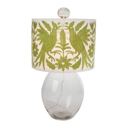Allen Glass Lamp - An olive green Otomi fabric shade tops off this handsome lamp. The clear glass base and finial are hand blown in Mexico. We will be offering this lamp with the Olive Green or the Mulit colored Otomi fabric shade.