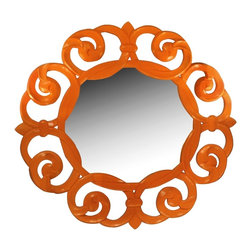 Worlds Away Lisette Mirror - This tangerine Lisette mirror will definitely grab the attention of your house guests. Don't be afraid; be bold with your color and have fun!