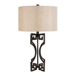 "Lamps Plus - Contemporary Ransil Open Bronze Metal Table Lamp - This transitional bronze table lamp is constructed of metal and has the look of an outdoor architectural piece or decorative gate accent. The open base is topped by a wide light gold faux linen drum shade that adds balance to the design while a matching bronze finial finishes it off. This beautiful table lamp will brighten your home decor for years to come. Decorative open-base table lamp. Bronze metal finish. Light gold faux linen shade. Metal construction. 3-way switch. Takes one maximum 150 watt or equivalent 3-way bulb (not included). Decorative matching finial. Shade is 17"" wide and 10"" high. 29 1/2"" high.  Decorative open-base table lamp.  Bronze metal finish.  Light gold faux linen shade.  Metal construction.  3-way switch.  Takes one maximum 150 watt or equivalent 3-way bulb (not included).  Decorative matching finial.  Shade is 17"" wide and 10"" high.  29 1/2"" high."