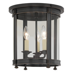 Robert Abbey - Blake Flushmount, Deep Patina Bronze - Beyond the candelabra … hang this fetching lighting ensemble on your ceiling and pretend you live in Versailles. The polished nickel finish and glass shade make a modern twist on a castle classic.