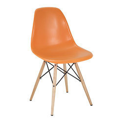 "IFN Modern - Eames DSW Chair-Orange - Created by Ray and Charles Eames, the Eames DSW Chair stems from revolutionary processes. The Eames DSW Chair offers many practical features that enhance comfort and durability. The wooden legs of the Eames DSW Dining Chair, which provides a pleasant natural accent to the molded plastic seat, also incorporate bent wire for maximum support. Inspired by the innovative mid century contemporary dining room furniture designs, this chair is a true modern furniture classic. This item is not an original Charles & Ray Eames product, nor is it manufactured by or affiliated with Herman Miller.Overall Dimensions: 32.5""H x 21""L x 18.5""D â— Multiple colors are availableâ— Sturdy and comfortable fiberglass seatâ— Available with Solid Wooden Legs, or Solid Stainless Steel Legsâ— Iconic design"