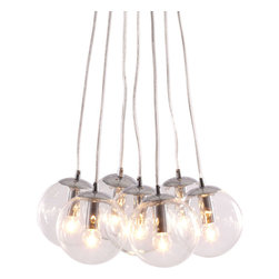 Decadence Ceiling Lamp Clear - Zuo Decadence Ceiling Lamp ClearLet the warmth of 7 glowing orbs fill your room with light. The Decadence ceiling lamp has 7 glass orbs fixed to a chrome base. The lamp comes with seven 40W bulbs and is UL approved.Finish: Clear