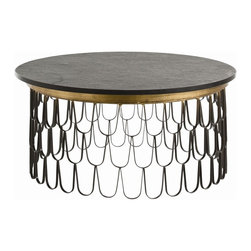 Arteriors - Orleans Cocktail Table - More than a cocktail table, this piece is like cocktail music for your room. Iron scallops create a rhythmic beat on the airy drum-shaped base topped with gold highlights and the muffled matte finish of hewn marble. It's a look that's classically modern and sure to swing.