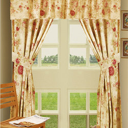 None - Antique Rose Window Panel Pair + Valance 5PC Window Set - Enhance your home decor with the antique rose 5-piece setSet features a classic floral print on a tea-stained backgroundValance and panels are lined with a 205 thread count (TC) liner for greater insulation and more privacy