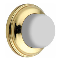 "Renovators Supply - Door Stops Bright Solid Brass Wall Door Bumper | 70020 - Wall Bumpers: This utilitarian Solid Brass wall bumper with durable rubber bumper has a low 1/2"" projection."