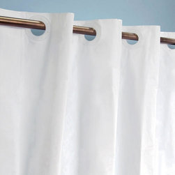 Hook Free Vinyl Shower Curtain - This White vinyl shower curtain is made to fit regular length shower rods and its unique design makes installation easy.