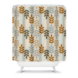 Shower Curtain Flower Brown Gray 71x74 Bathroom Decor Made in the USA - DETAILS: