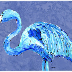 Caroline's Treasures - Flamingo On Slate Blue Kitchen Or Bath Mat 24X36 - Kitchen or Bath COMFORT FLOOR MAT This mat is 24 inch by 36 inch. Comfort Mat / Carpet / Rug that is Made and Printed in the USA. A foam cushion is attached to the bottom of the mat for comfort when standing. The mat has been permenantly dyed for moderate traffic. Durable and fade resistant. The back of the mat is rubber backed to keep the mat from slipping on a smooth floor. Use pressure and water from garden hose or power washer to clean the mat. Vacuuming only with the hard wood floor setting, as to not pull up the knap of the felt. Avoid soap or cleaner that produces suds when cleaning. It will be difficult to get the suds out of the mat