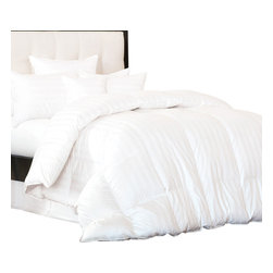 Bedding Web Store - Comforter Stripes White-Down Alternative - Enjoy the comfort of this extremely soft down alternative comforter with white stripes.  This comforter is 100% microfiber which makes if naturally hypoallergenic.  This is an all season comforter, it will not weight you down thus providing you will a comfortable and restful night of sleep.  It is available in Twin/Twin XL, Full/Queen and King.