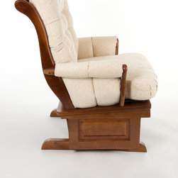 In Production - Premium glider rocker, made with solid oak or solid birch. Dense foam and fiber fill. Mechanism tested to 300LB/4 Million cycles (about 20 Years). Available at select retailers.