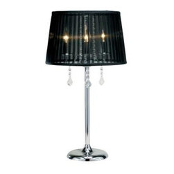 Adesso - Bed Side Lamps: Cabaret 25-1/2 in. Chrome Table Lamp 3356-22 - Shop for Lighting & Fans at The Home Depot. The Adesso Cabaret 25-1/2 in. Table Lamp features a classic chandelier design and a sheer black nylon shade to bring a touch of elegance and style to your space. This lamp accents your personal style with sophistication and beauty. Cabaret takes 3x40 watt candelabra bulbs (included). Pair it with the Cabaret floor lamp to complete your room's look.