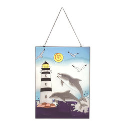 """Lighthouse w/ Dolphins Stained Glass - The lighthouse w/ dolphins stained glass measures 24"""" x 18"""". This item features a lighthouse with two dolphins playing in the water and three seagulls flying by on a sunny day. It will add a definite nautical touch to wherever it is placed and is a must have for those who appreciate high quality nautical decor. It makes a great gift, impressive decoration and will be admired by all those who love the sea."""