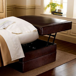 """Old Hickory Tannery - Old Hickory Tannery Single-Sleeper Leather Ottoman - Extra seating or an extra bed—whatever you need, this ottoman provides. USA made with a maple frame, it is covered with dark brown stain-resistant leather. 34""""W x 34.5""""D x 20""""T when closed; opens to 106""""L x 29""""T bed (mattress included)."""