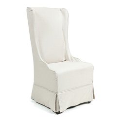 Kosas Collections - Hampton Wingback Chair - Add another sitting place in style with this Hampton diningroom chair. This neat chair features a wooden frame and medium-density foam for sturdiness and comfort. It sports a beige linen upholstery, and an easy-to-clean slip cover for convenience.