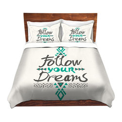 DiaNoche Designs - Duvet Cover Twill by Pom Graphic Design - Follow Your Dreams - Lightweight and soft brushed twill Duvet Cover sizes Twin, Queen, King.  SHAMS NOT INCLUDED.  This duvet is designed to wash upon arrival for maximum softness.   Each duvet starts by looming the fabric and cutting to the size ordered.  The Image is printed and your Duvet Cover is meticulously sewn together with ties in each corner and a concealed zip closure.  All in the USA!!  Poly top with a Cotton Poly underside.  Dye Sublimation printing permanently adheres the ink to the material for long life and durability. Printed top, cream colored bottom, Machine Washable, Product may vary slightly from image.