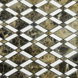 "New ""SOHO MOSAIC SERIES""- dark emperador&Thassos marbles lattice polished mosaic -"