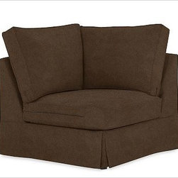 "PB Comfort Square Arm SectionalCornerEveryday VelvetMochaSlipcover - Designed exclusively for our versatile PB Comfort Square Sectional Components, these soft, inviting slipcovers retain their smooth fit and remove easily for cleaning. Left Armchair with Box Cushions is shown. Select ""Living Room"" in our {{link path='http://potterybarn.icovia.com/icovia.aspx' class='popup' width='900' height='700'}}Room Planner{{/link}} to select a configuration that's ideal for your space. This item can also be customized with your choice of over {{link path='pages/popups/fab_leather_popup.html' class='popup' width='720' height='800'}}80 custom fabrics and colors{{/link}}. For details and pricing on custom fabrics, please call us at 1.800.840.3658 or click Live Help. Fabrics are hand selected for softness, quality and durability. All slipcover fabrics are hand selected for softness, quality and durability. {{link path='pages/popups/sectionalsheet.html' class='popup' width='720' height='800'}}Left-arm or right-arm{{/link}} is determined by the location of the arm as you face the piece. This is a special-order item and ships directly from the manufacturer. To see fabrics available for Quick Ship and to view our order and return policy, click on the Shipping Info tab above. Watch a video about our exclusive {{link path='/stylehouse/videos/videos/pbq_v36_rel.html?cm_sp=Video_PIP-_-PBQUALITY-_-SUTTER_STREET' class='popup' width='950' height='300'}}North Carolina Furniture Workshop{{/link}}."
