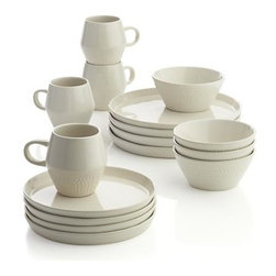 Kitt 16-Piece Dinnerware Set - Using a selection of Crate and Barrel flatware designs, designer Paige Russell pressed the utensil ends into unfired clay, impressing the raised rims and angled contours of her unique cream-colored stoneware pieces with subtle dots and dashes.