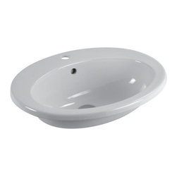 GSI - Sleek Oval Self Rimming Ceramic Bathroom Sink - Beautiful modern and contemporary oval shaped bathroom sink. Made out of high quality ceramic and finished in white. This sink includes overflow and has option for one faucet hole or three holes. Made in Italy by GSI.